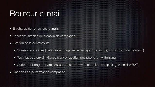 Routeur e-mail En charge de l envoi des e-mails Fonctions simples de création de campagne Gestion de la deliverabilité Con...