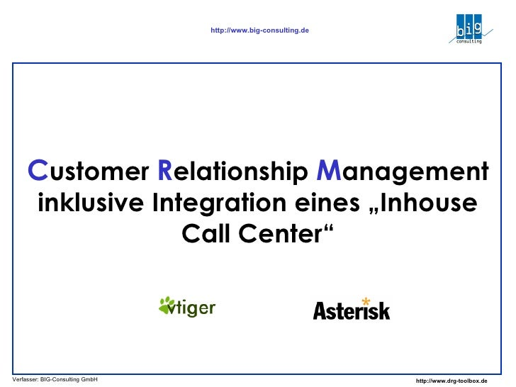 "C ustomer  R elationship  M anagement inklusive Integration eines ""Inhouse Call Center"""
