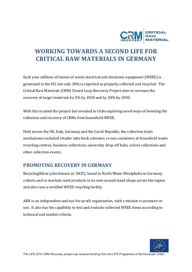 The LIFE 2014 CRM Recovery project has received funding from the LIFE Programme of the European Union.    WORKINGTOWAR...