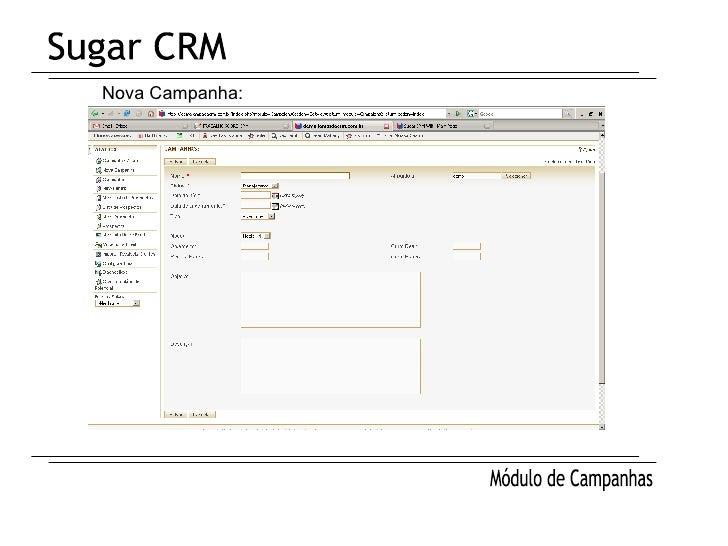 Sugar CRM Módulo de Campanhas Nova Campanha: