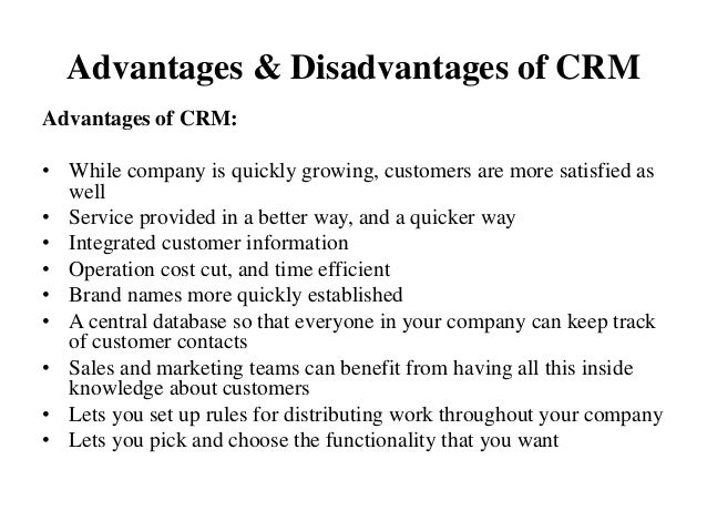 customer relationship management advantages and disadvantages