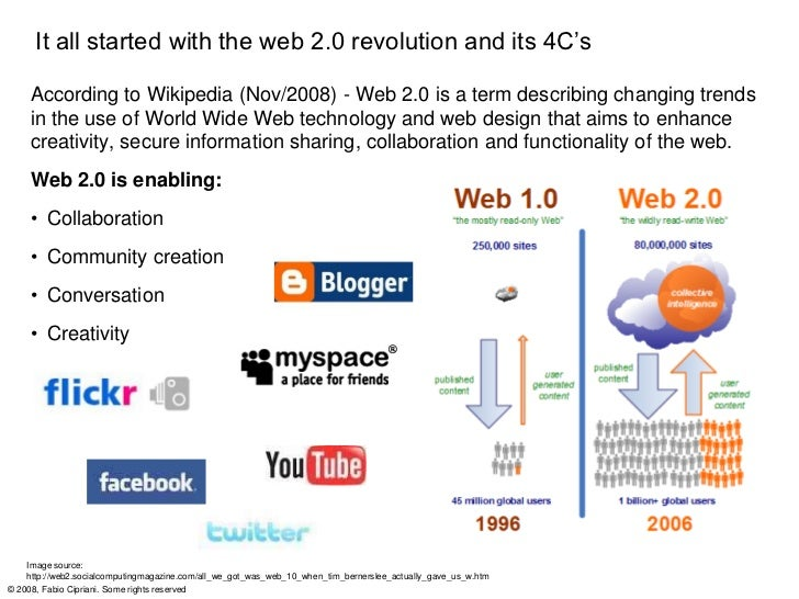 It all started with the web 2.0 revolution and its 4C's     According to Wikipedia (Nov/2008) - Web 2.0 is a term describi...