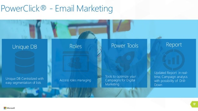 17 PowerClick® - Email Marketing Access roles managingUnique DB Centralized with easy segmentation of lists Tools to optim...