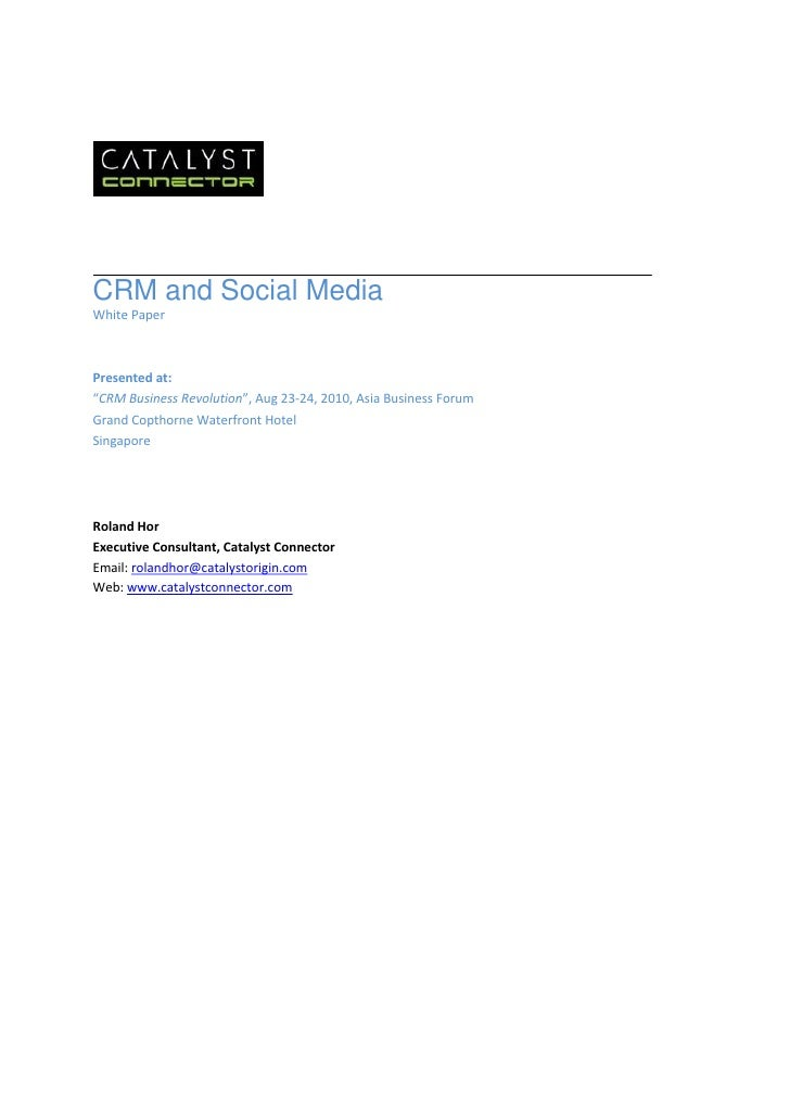Crm and social media white paper
