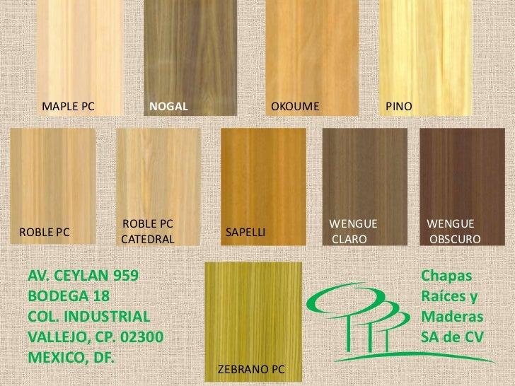 Chapas de madera crm for Madera wengue