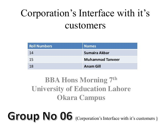 Corporation's Interface with it's customers Roll Numbers  Names  14  Sumaira Akbar  15  Muhammad Tanveer  18  Anam Gill  B...