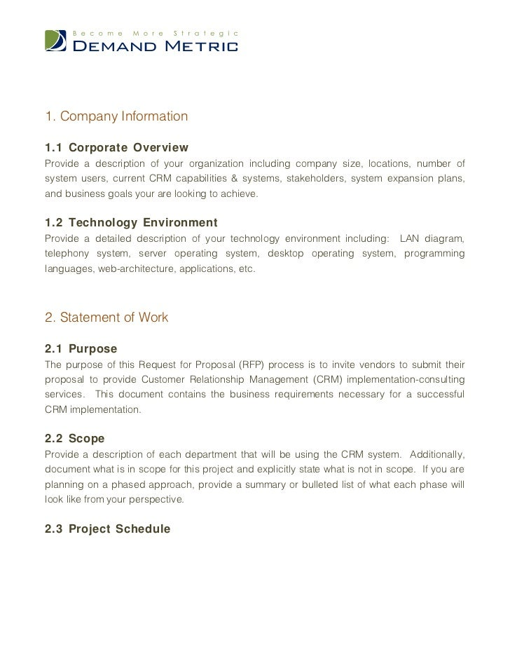 Crm Consulting Services Rfp