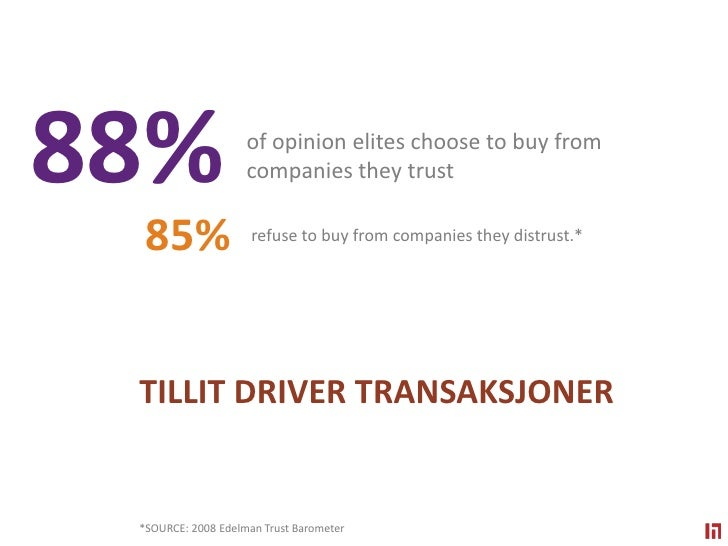 88% <br />of opinion elites choose to buy from companies they trust<br />85%<br />refuse to buy from companies they distru...