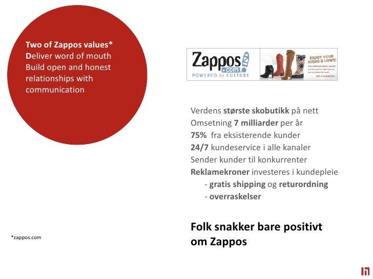 Two ofZapposvalues* <br />Deliverwordofmouth<br />Buildopen and honestrelationshipswithcommunication<br />Verdensstørstesk...