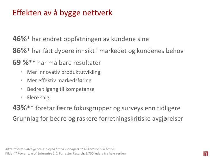 Effekten av å bygge nettverk<br />46%*harendretoppfatningenavkundene sine <br />86%*harfåttdypereinnsiktimarkedetogkundene...