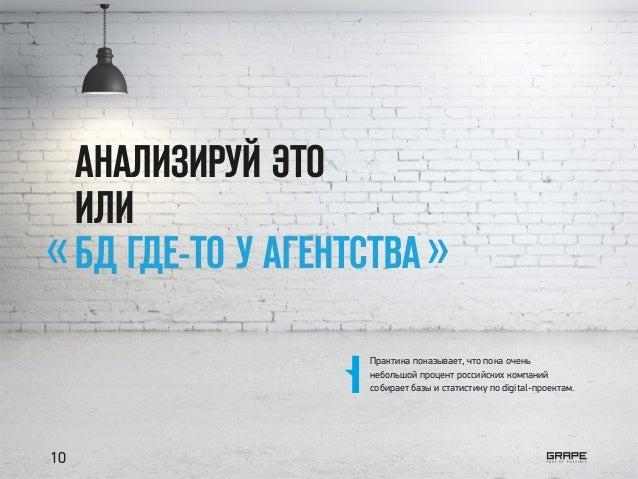 АНАЛИЗИРУЙ ЭТО ИЛИ БД ГДЕ-ТО У АГЕНТСТВА« » Практика показывает, что пока очень небольшой процент российских компаний соби...
