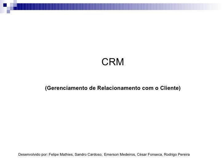 CRM (Gerenciamento de Relacionamento com o Cliente) Desenvolvido por: Felipe Mathies, Sandro Cardoso,   Emerson Medeiros, ...