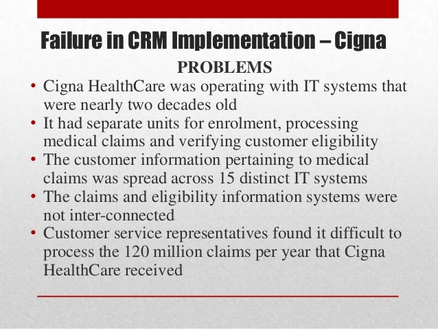 crm implementation failure at cigna corporation case study
