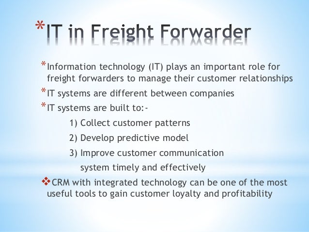 Customer Relationship Management in freight forwarding