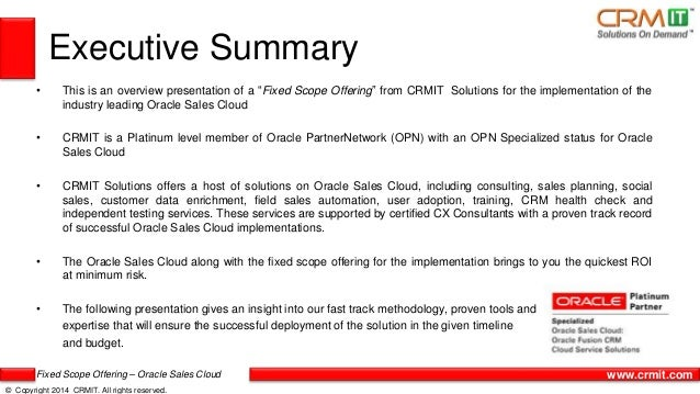 CRMIT Solutions Fixed Scope Offering for Oracle Sales Cloud Slide 2