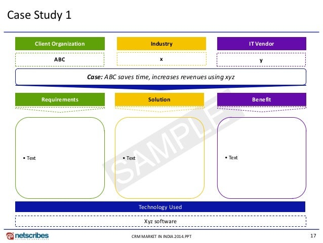 17CRM MARKET IN INDIA 2014.PPT Case Study 1 Case: ABC saves time, increases revenues using xyz SolutionRequirements Benefi...