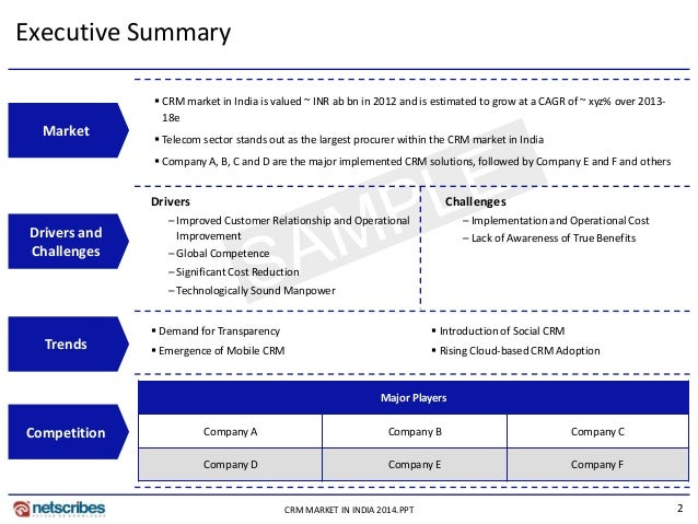 2CRM MARKET IN INDIA 2014.PPT Executive Summary Market Drivers and Challenges Trends Competition  CRM market in India is ...