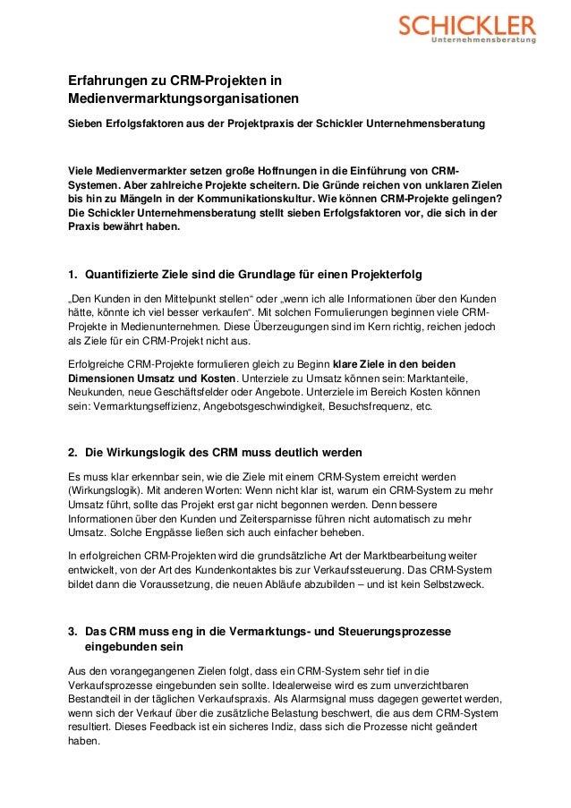 Erfahrungen zu CRM-Projekten inMedienvermarktungsorganisationenSieben Erfolgsfaktoren aus der Projektpraxis der Schickler ...