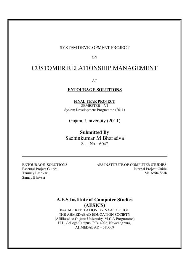 project report on customer relationship management