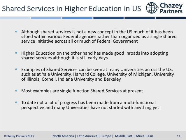 Shared Services in Higher Education in US Although shared services is not a new concept in the US much of it has been silo...