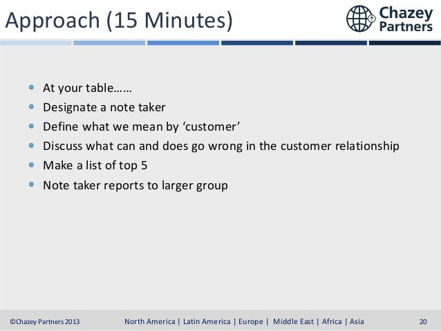 Approach (15 Minutes) At your table…… Designate a note taker Define what we mean by 'customer' Discuss what can and does g...