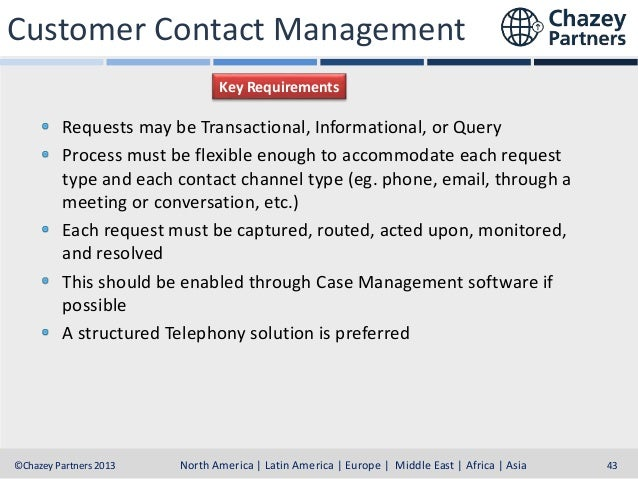 Customer Contact Management Key Requirements  Requests may be Transactional, Informational, or Query Process must be flexi...
