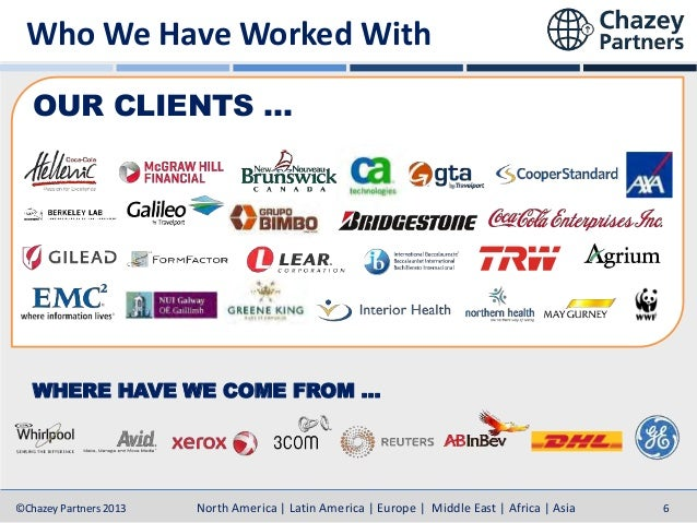 Who We Have Worked With OUR CLIENTS …  WHERE HAVE WE COME FROM …  ©Chazey Partners 2013  North America | Latin America | E...