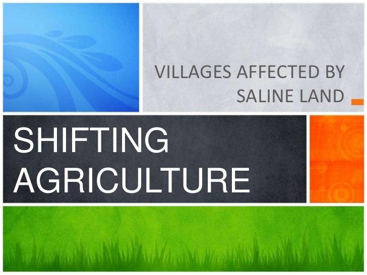 VILLAGES AFFECTED BY               SALINE LANDSHIFTINGAGRICULTURE