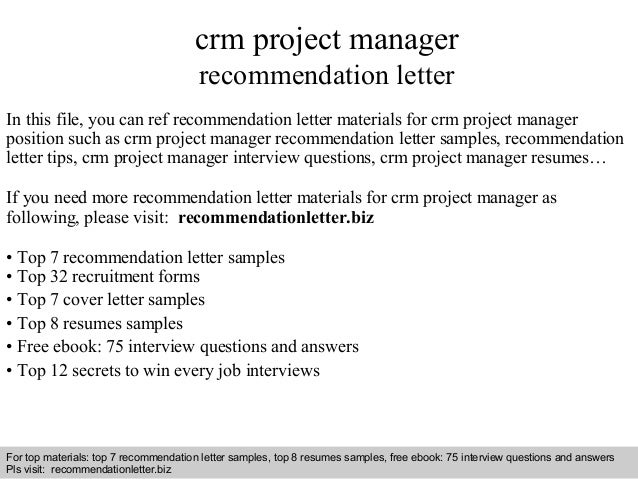 Crm Project Manager Recommendation Letter