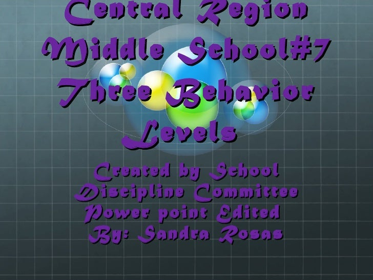 Central Region Middle School#7 Three Behavior Levels  Created by School Discipline Committee Power point Edited  By: Sandr...