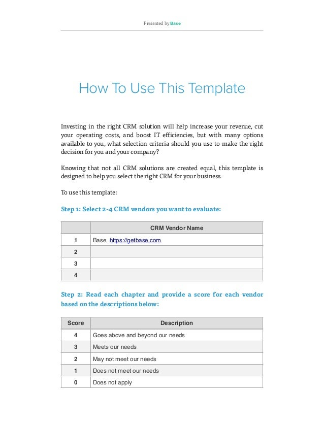 How To Evaluate Crm Software Free Crm Requirements Template