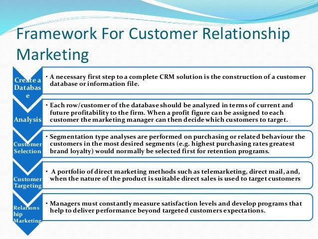 Framework For Customer Relationship Marketing Create a Databas e • A necessary first step to a complete CRM solution is th...