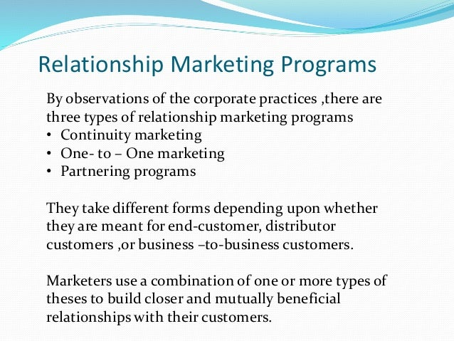 customer relationship marketing The concept explains what relationship marketing is and describes the key principles upon which it is based it offers the tools, strengths and success factors that will help organisations to tackle many issues relating to customer relationship management.