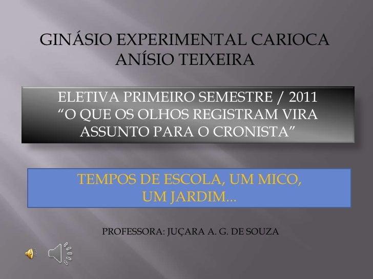 """GINÁSIO EXPERIMENTAL CARIOCA        ANÍSIO TEIXEIRA ELETIVA PRIMEIRO SEMESTRE / 2011 """"O QUE OS OLHOS REGISTRAM VIRA    ASS..."""