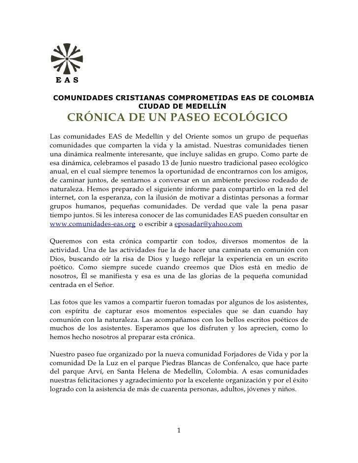 EAS      COMUNIDADES CRISTIANAS COMPROMETIDAS EAS DE COLOMBIA                   CIUDAD DE MEDELLÍN      CRÓNICA DE UN PASE...