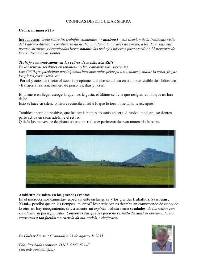 CRONICAS DESDE GUEJAR SIERRA Crónica número 21.- Intruducción: trata sobre los trabajos comunales - ( motirao ) - con ocas...