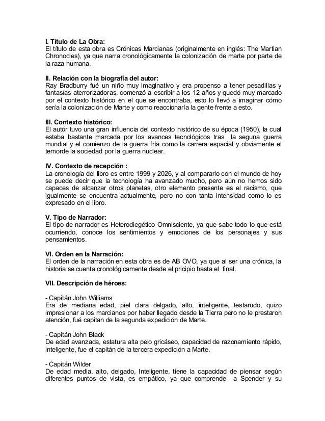 Análisis Literario Crónicas Marcianas Ray Bradburry
