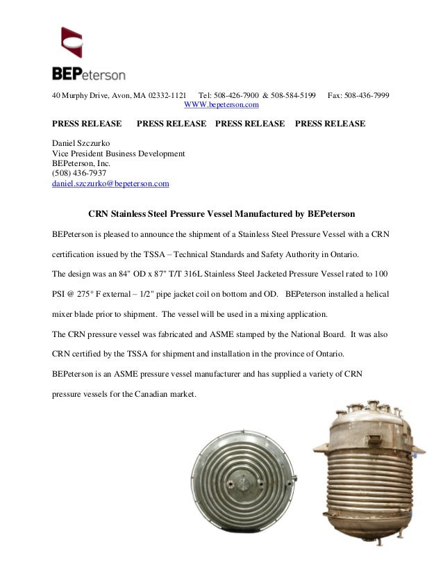 Crn Stainless Steel Pressure Vessel Manufactured By Bepeterson