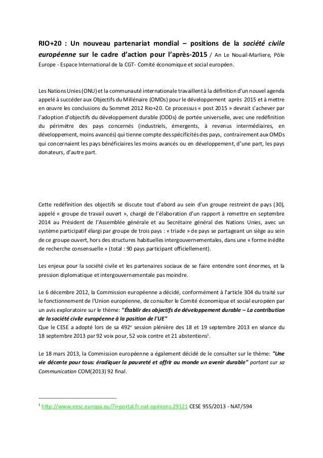 RIO+20 : Un nouveau partenariat mondial – positions de la société civile européenne sur le cadre d'action pour l'après-201...