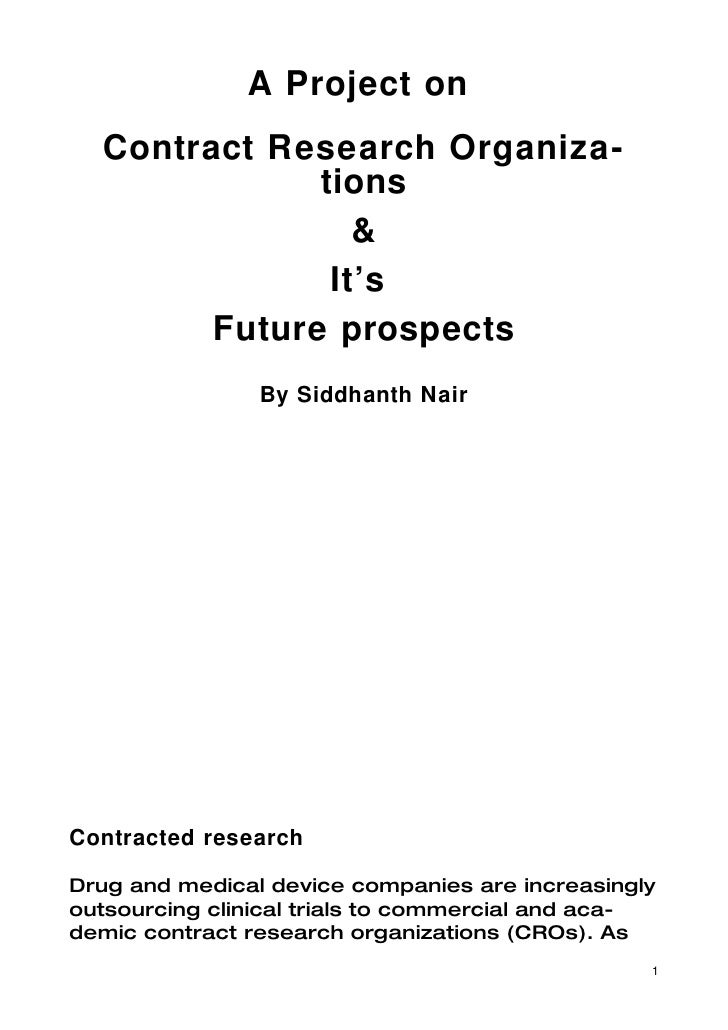 A Project on   Contract Research Organiza-               tions                  &                It's         Future prosp...