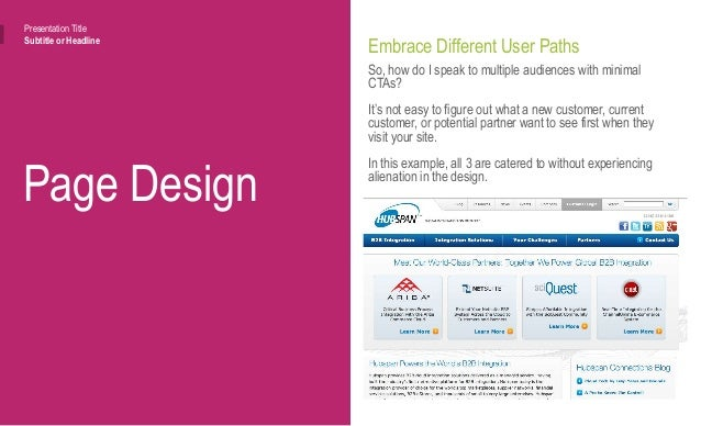Page Design Presentation Title Subtitle or Headline Ditch Distractions Keep it simple, and keep it easy for users to navig...