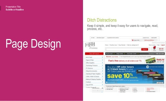 Page Design Presentation Title Subtitle or Headline Avoid Options Options create confusion and roadblocks in the conversio...