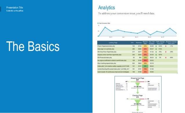 The Basics Analytics Toaddressyourconversion issue, you'll need data. Presentation Title Subtitleor Headline