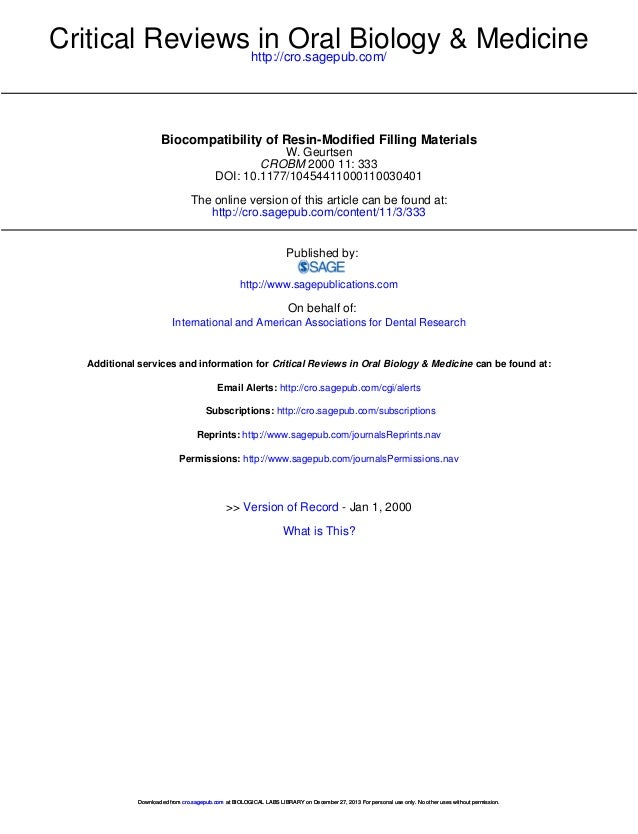 Critical Reviews http://cro.sagepub.com/ in Oral Biology & Medicine  Biocompatibility of Resin-Modified Filling Materials ...