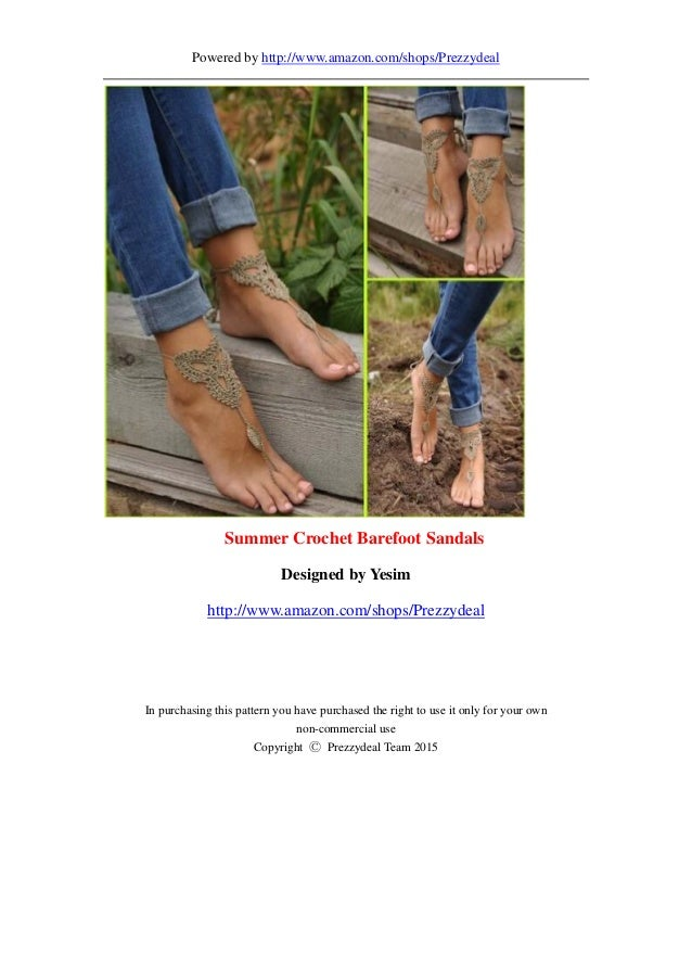Crochet Barefoot Sandals For Beach Weddingfree Pattern