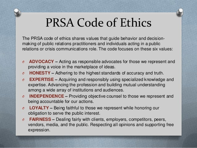 PRSA CODE OF ETHICS PDF