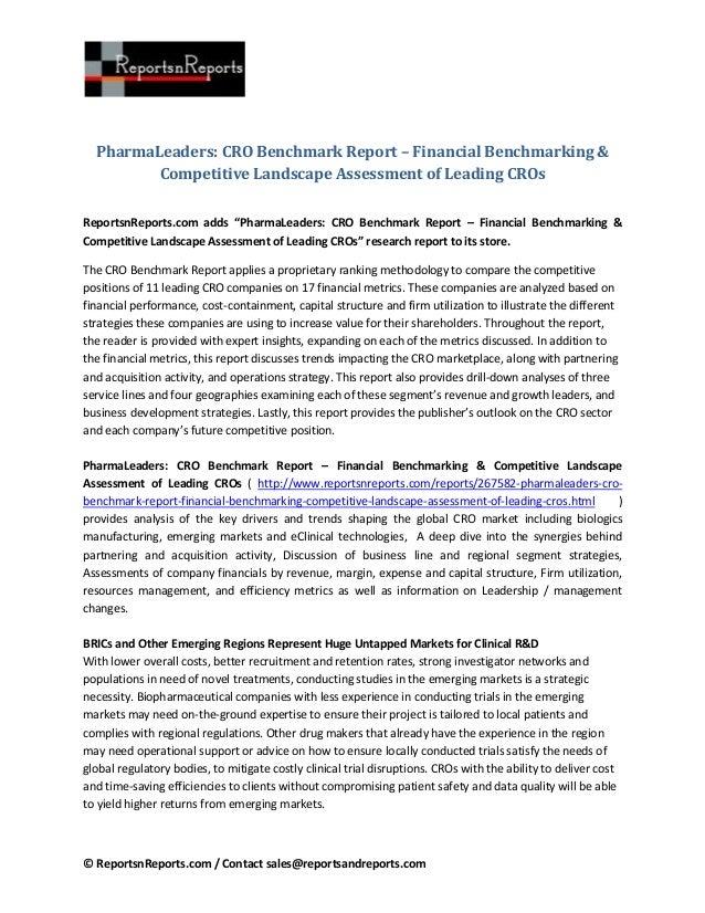 © ReportsnReports.com / Contact sales@reportsandreports.com PharmaLeaders: CRO Benchmark Report – Financial Benchmarking &...