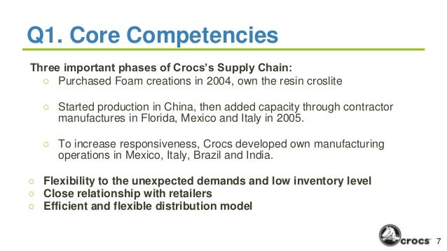 case study supply chain revolution from crocs Case study 3: crocs 1 what are croc's core competencies croc's core competencies start with its highly flexible supply chain and the ability to fulfill new orders quickly, responding to increases in customer demand as it occurs.