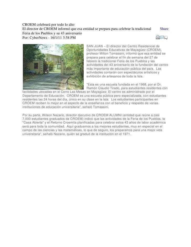 """CROEM celebrará por todo lo alto HYPERLINK """"http://www.facebook.com/sharer.php?u=http%3A%2F%2Fwww.wapa.tv%2Fnoticias%2Fesp..."""