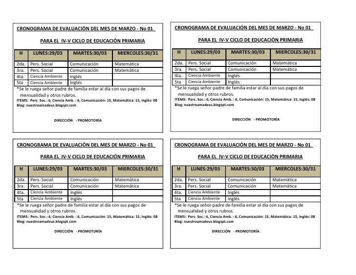 CRONOGRAMA DE EVALUACIÓN DEL MES DE MARZO - No 01                                      CRONOGRAMA DE EVALUACIÓN DEL MES DE...
